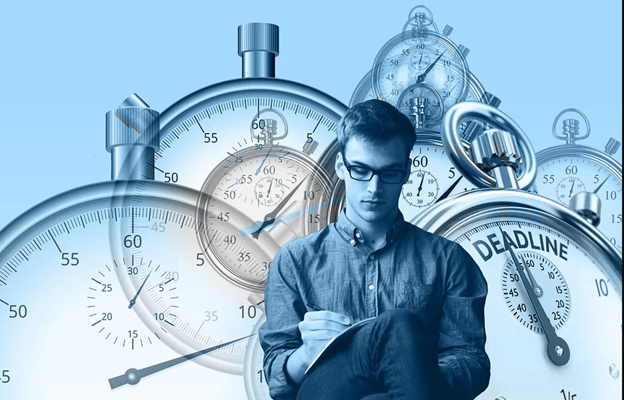 young man with glasses with many stop watches in the background