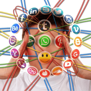 person with social media icons