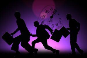 fear, business men running in panic, toxic work environment