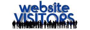 """silhouettes of many people with """"website visitors"""" words written above them"""