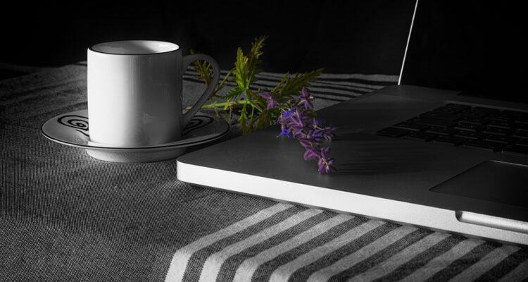 coffee cup, laptop, purple flower, integrity, How To Blog With Integrity?